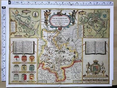 Old Antique Tudor map Huntingdonshire, Ely, England: John Speed 1600's Reprint