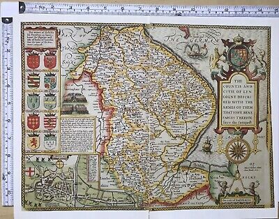 Old Antique Tudor map Lincolnshire, Lincoln, England: John Speed 1600's Reprint