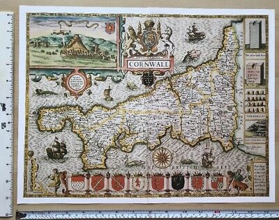 "Old Antique Tudor map of Cornwall, England: John Speed 1600's, 15"" X 11"" Reprint"