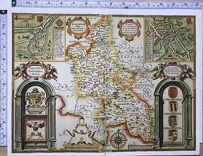 Old Tudor map of Buckinghamshire, Reading, England: John Speed 1600's Reprint