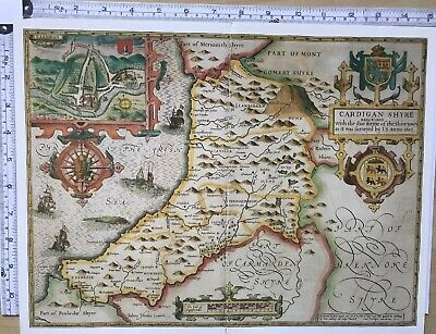 "Old Antique Tudor map Cardiganshire, Wales: John Speed 1600's 15"" x 11 Reprint"