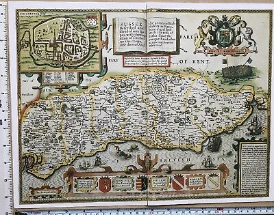 "Old Antique Tudor map of Sussex, England: John Speed 1600's 15"" x 11 (Reprint)"