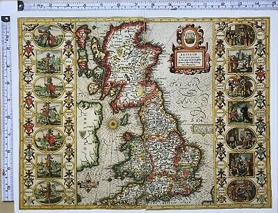 Old Antique Tudor map Great Britain: England Scotland Wales Speed 1600s Reprint