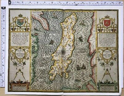 Old Historic Tudor map of Isle of Man, England: John Speed 1600's 1610 Reprint