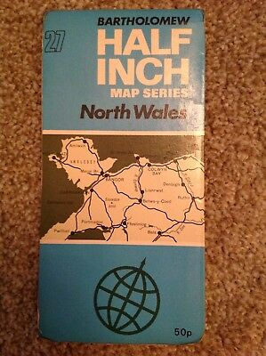 BARTHOLOMEWS North Wales 1971 Half Inch Map