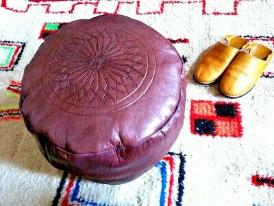 Moroccan Handmade pouf Leather Authentic Moroccan poufs ottoman free shipping