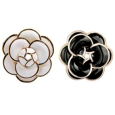 Enamel Camellia Flowers Channel Jewelry Brooches Broaches For Women Sweater  8T5