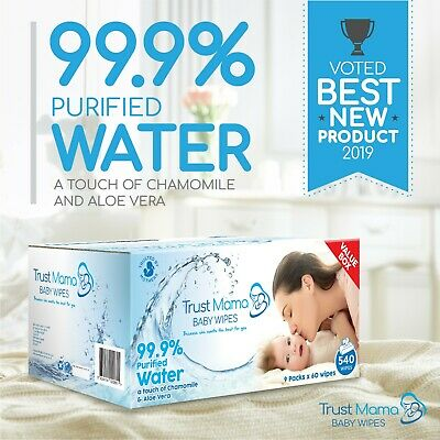 Trust Mama Water Wipes 99.9% Water Chemical Free For Sensitive Skin (9 Packs)