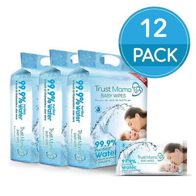 Trust Mama Water Wipes 99.9% Water Chemical Free As Pure As Nature (12 Packs)