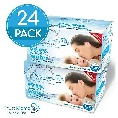 Trust Mama Water Wipes 99.9% Water Chemical Free For Sensitive Skin (24 Packs)