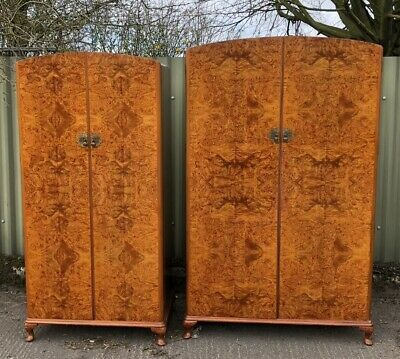 Outstanding Pair Of Walnut Art Deco Wardrobes Very Clean Condition