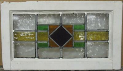 """MID SIZED OLD ENGLISH LEADED STAINED GLASS WINDOW Geometric Band 22.75"""" x 13"""""""