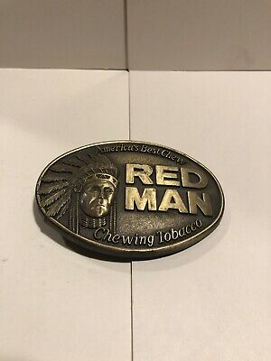 Red Man Indian Chief Chewing Tobacco Brass Belt Buckle Pinkerton 1988