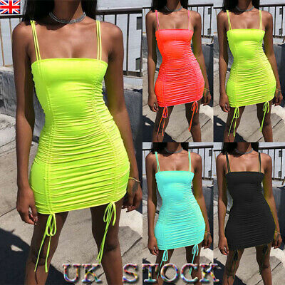 Womens Bodycon Dress Strappy Lace Up Party Cocktail Evening Club Mini Dresses UK