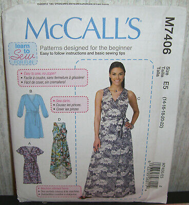 MCCALL'S SEWING PATTERN 7406 Misses Sz 6-14 Very Easy Wrap