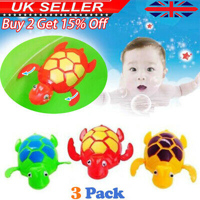 3* Baby Bath Pool Swimming Turtle Animal Toy Winding Wind-up For Children Kids