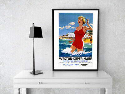 Weston Super Mare Vintage Travel Poster Print Gift Cafe Wall Art A4 Satin Paper