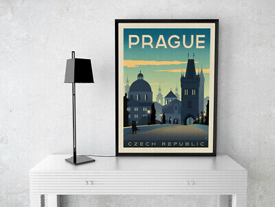 Prague Vintage Travel Poster Print Gift Cafe Wall Art A4 Satin Paper