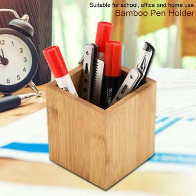 Bamboo Pen Holder Office School Pencil Storage Organizer Stand Stationery Supply