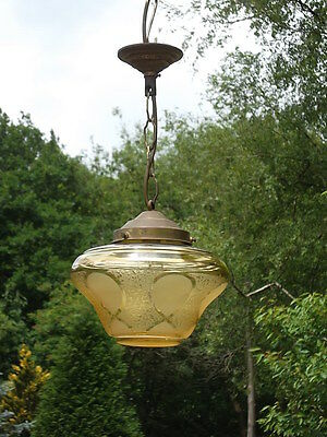 A very unusual 1940's/1950's vintage French amber glass lantern (FF23)