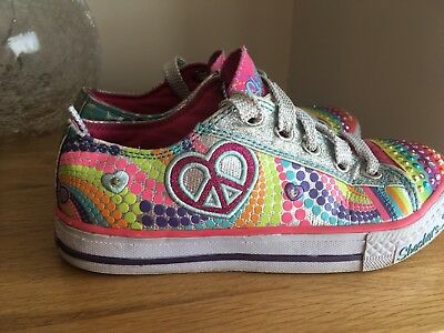 Stunning Skechers Multi Coloured Light up Twinkle Toes Canvas Trainers UK 13.5