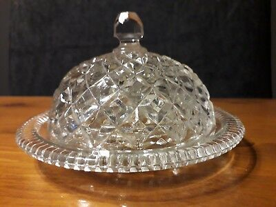 Vintage Fine Quality Round Glass Butter Dish with Dome Lid & Elegant Pattern