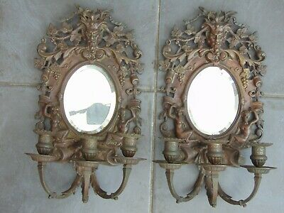Pair Antique Bronze Ornate Mythical Mirrored Wall Candle Sconces