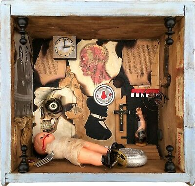 Original Assemblage Art Horrors Odities Old French Cabinet Curiosités Wooden Box