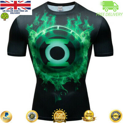 Compression gym top superhero avengers marvel muscle Green Lantern MMA Crossfit