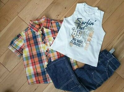 Boys Jeans Trousers Shorts Vest Shirt Age 2-3 Outfit Summer South African Brand