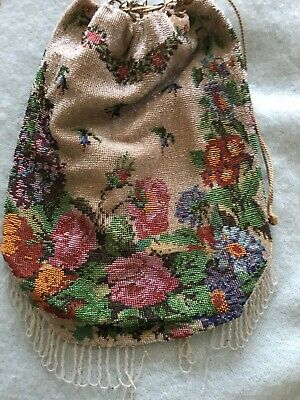 ELEGANT VICTORIAN BEADED POUCH HANDBAG TAPESTRY-LOOK FLORAL 1000s of GLASS BEADS