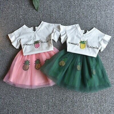 Cute Baby Girls Clothes Sets Summer Short Sleeve Rhinestone Sequin Pineapple 1Z4