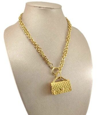 6e03318bf574 CHANEL Vintage Early 80s Classic 2.55 Handbag Double Chain Runway Necklace  AUTH