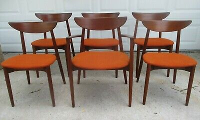 Six (6) HARRY ØSTERGAARD MODEL 58 DANISH TEAK DINING CHAIRS MCM Eames Wegner BIN