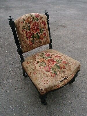 Antique Victorian Aesthetic Movement Ebonised Nursing Chair Upholstery Project