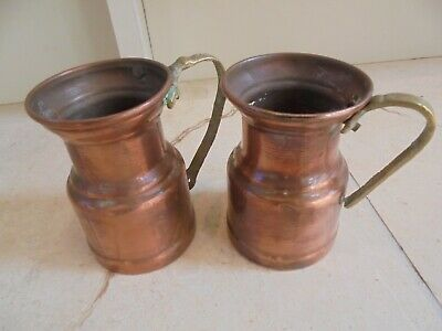 Vintage French pair of 2 tiny mini copper tankards, brass handles