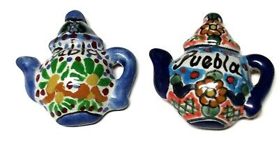 2 Hand Painted Teapot Clay Fridge Magnets Talavera Mexican Crafts