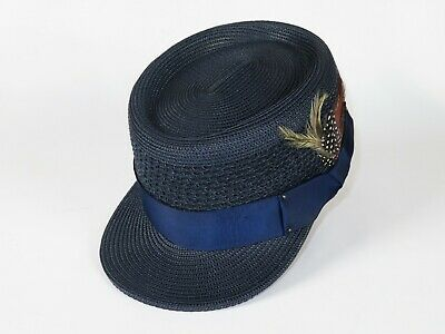 Men Fashion Straw Style Hat BRUNO CAPELO Legionnaire Telescope Crown LG215 Navy