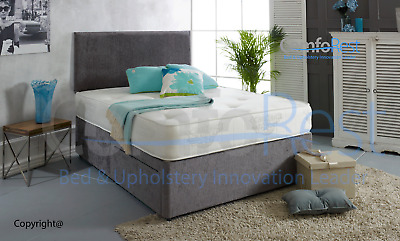 "Orthopaedic Divan Bed Set With Mattress And Free 20"" Plain Headboard  - Uk Made"