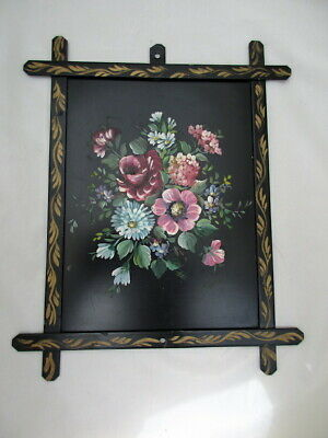 Toleware Metal Art Wall Hanging Hand Painted  Kloth Floral Unique Tole American