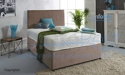 Memory Sprung Chenille Divan Bed Set With Mattress And Free Headboard