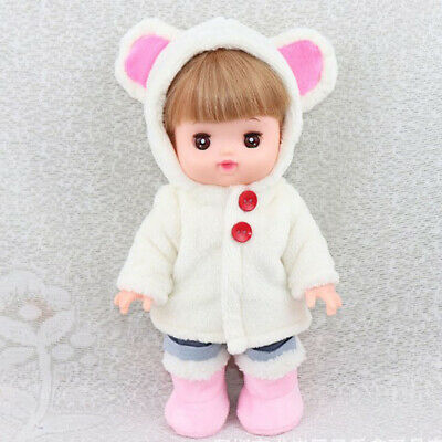 Adorable Doll White Plush Coat Winter Clothes for 25cm Mellchan Baby Doll