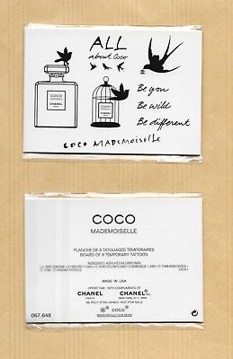 Planche board 9 tattoos tatouages temporaires COCO MADEMOISELLE * CHANEL