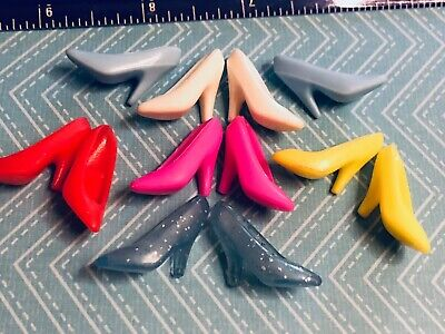 BARBie 6 pairs MATTEL Standard pumps 80's -90's red white blue's yellow pink EUC