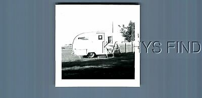 Found B&W Photo H+6004 Side View  Of Tear Drop Camper Trailer