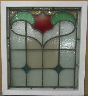 "OLD ENGLISH LEADED STAINED GLASS WINDOW Gorgeous Abstract Design 17.25"" x 19.5"""