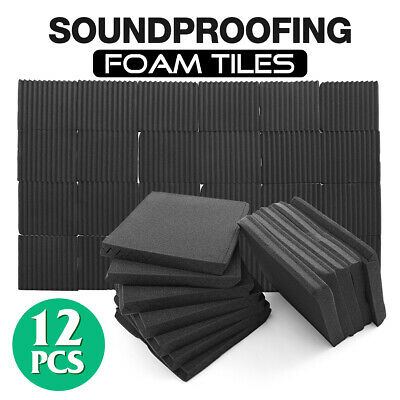 "12 Pack 12""x12""x1"" Acoustic Foam Black Panel Tiles Wall Record Studio SoundProof"