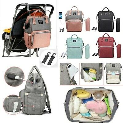 Diaper Bag Ergo Baby USB Charging Port Maternity Nursing Waterproof Backpack