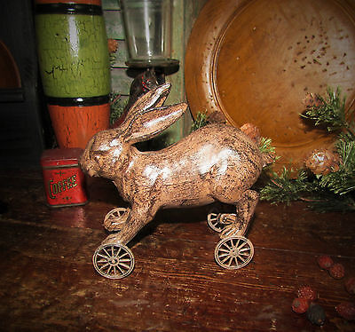 Primitive Antique Vtg Style Country Farm BUNNY RABBIT ON WHEELS Shelf Sitter