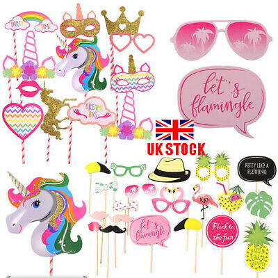 12//20 Pcs Flamingo Unicorn Photo Booth Props Wedding Mustaches Party Photography